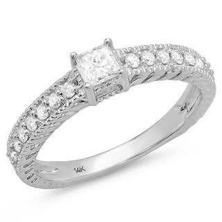 14k White Gold 1/2ct TDW Princess Center Diamond Engagement Ring
