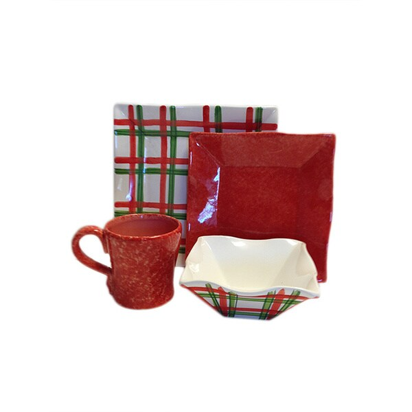Tartan Twist Christmas Dinnerware Bundle (Italy)