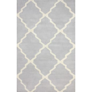 nuLOOM Handmade New Zealand Wool/ Viscose Grey Trellis Lattice Rug (7'6 x 9'6)