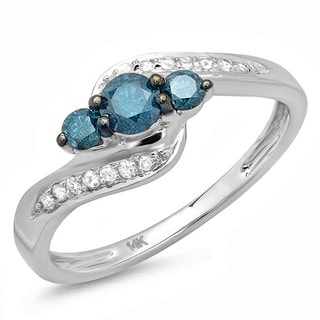 14k White Gold 1ct TDW Blue And White 3-Stone Diamond Ring