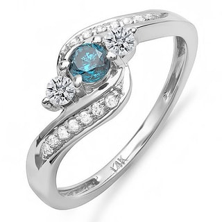 14k White Gold 3/4ct TDW Blue And White Diamond Swirl Engagement Ring (H-I, I1-I2)