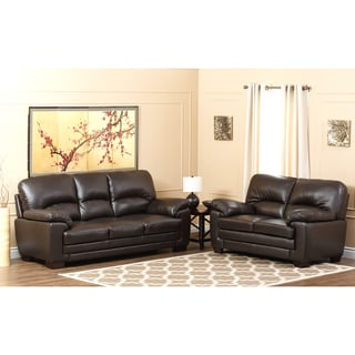 Abbyson Living Charleston Premium Italian Leather Sofa and Loveseat Set