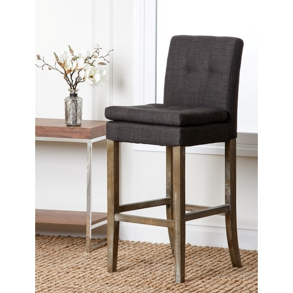 ABBYSON LIVING Colin Grey Linen Bar Stool