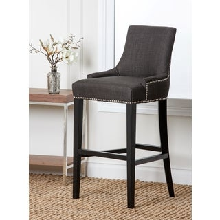 Abbyson Living Newport Grey Fabric Nailhead Trim Bar Stool