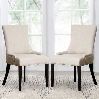 Abbyson Living Newport White Fabric Nailhead Trim Dining Chair
