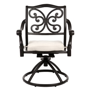La Mariposa Black Cast Aluminum Swivel Chairs (Set of 2)