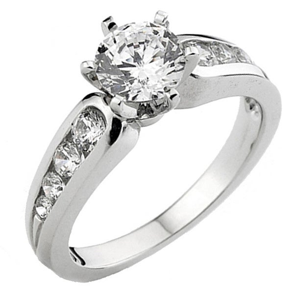 14k White Gold 3/5ct TDW 6-Prong Round Diamond Engagement Ring