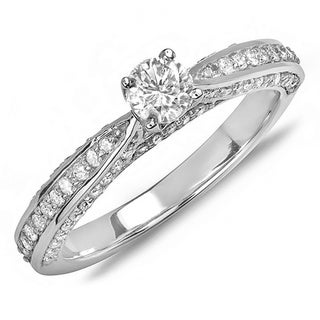 14k White Gold 3/4ct TDW Round Solitaire with Side Accent Diamond Ring (H-I, I1-I2)