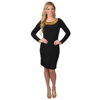 Calvin Klein Women's Long Sleeve Neck Detail Sheath Dress