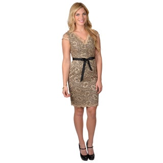 Calvin Klein Women's V-neck Cap Sleeve Lace Dress