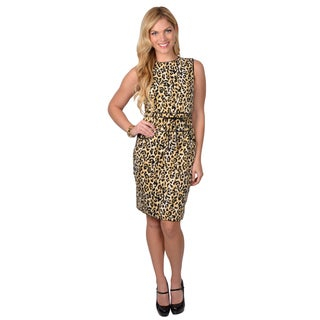 Calvin Klein Women's Sleeveless Animal Print Belted Dress