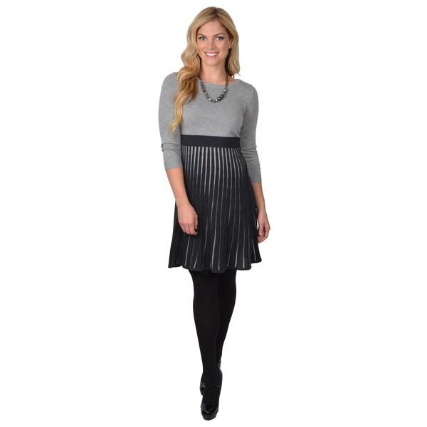 Calvin Klein Women's Long Sleeve Pleated Sweater Dress