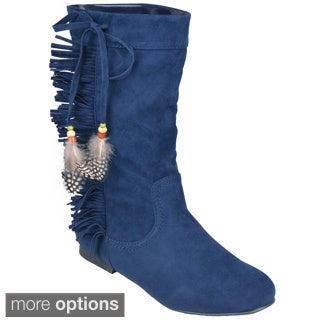 Journee Collection Women's 'Honesty' Round Toe Fringe Detail Boots
