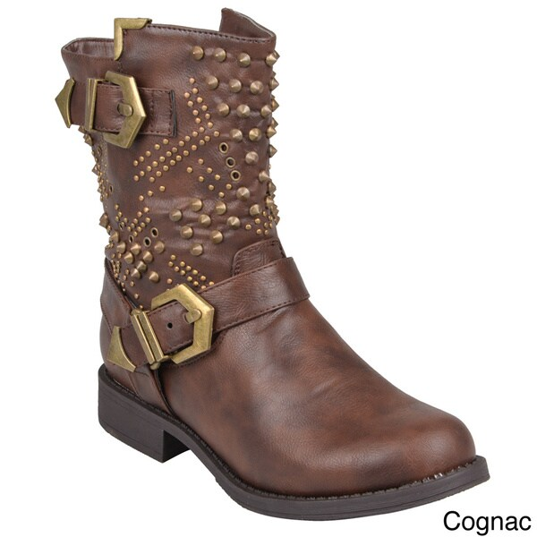 Journee Collection Women S Tazma Studded Round Toe Boots
