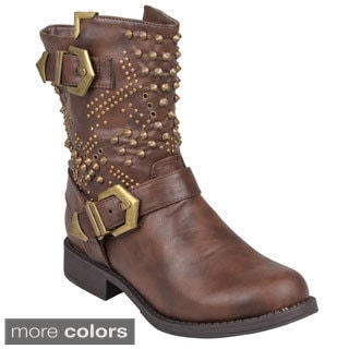 Journee Collection Women's 'Tazma' Studded Round Toe Boots