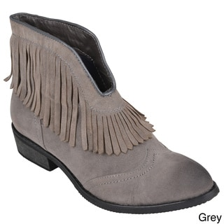 Journee Collection Women's 'Theory' Fringe Detail Short Boots