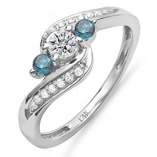 14k White Gold 3/4ct TDW Blue And White Diamond Ring (H-I, I1-I2)