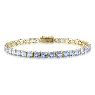Miadora 10k Yellow Gold 10-11ct TGW Created Aquamarine Tennis Bracelet