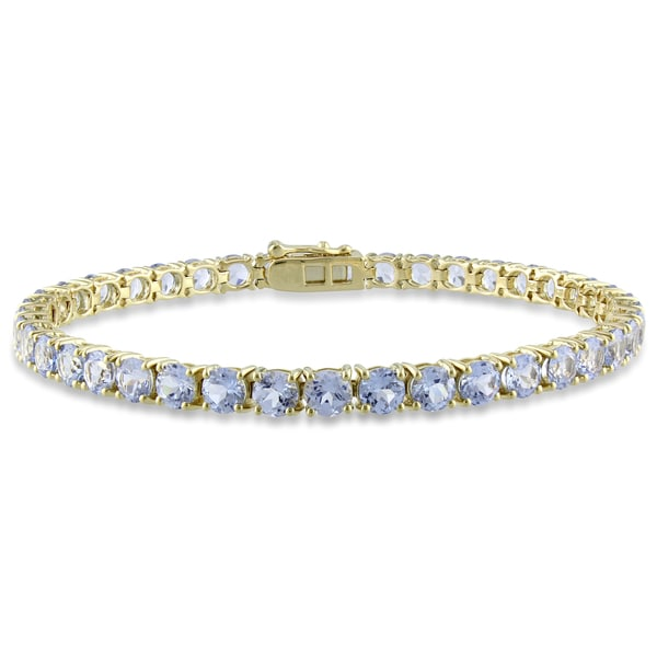 Miadora 14k Yellow Gold 10-11ct TGW Created Aquamarine Tennis Bracelet