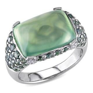 Miadora Signature Collection 14k White Gold Prehnite, Sapphire 1/10ct TDW Diamond Ring (G-H, SI1-SI2)