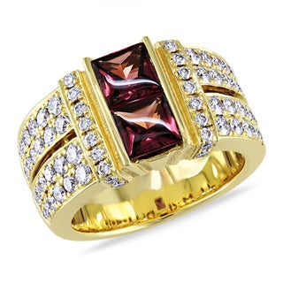 Miadora Signature Collection 18k Yellow Gold Rhodolite and 1ct TDW Diamond Ring (F-G, SI1-SI2)