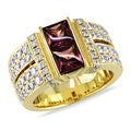 Miadora 18k Yellow Gold Rhodolite and 1ct TDW Diamond Ring (F-G, SI1-SI2)