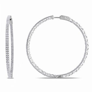 Miadora Sterling Silver 2ct TDW Diamond Hoop Earrings (H-I, I2-I3)