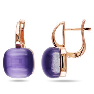 Miadora Rose-plated Silver Simulated Purple Cat Eye Earrings