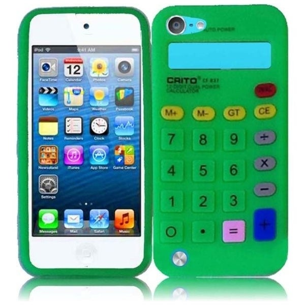 INSTEN Neon Green Calculator Soft Silicone iPod Case Cover for Apple iPod touch 5