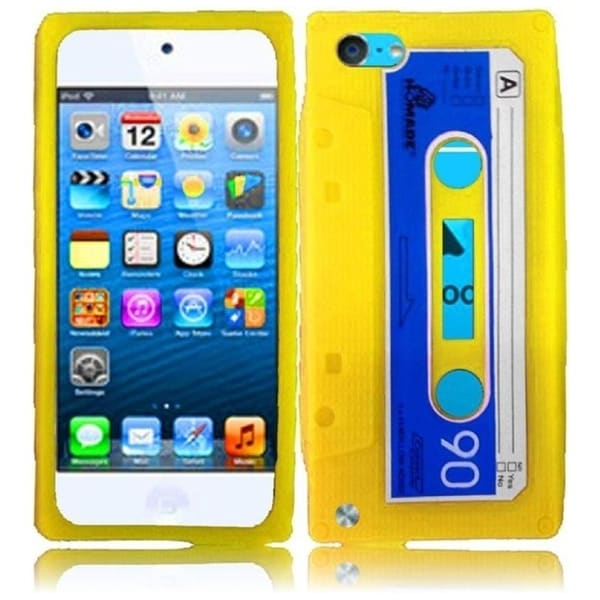 INSTEN Yellow Cassette Soft Silicone iPod Case Cover for Apple iPod touch 5