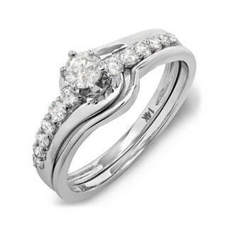 14k White Gold 3/5ct TDW Round Diamond 2-piece Bridal Set (H-I, I1-I2)