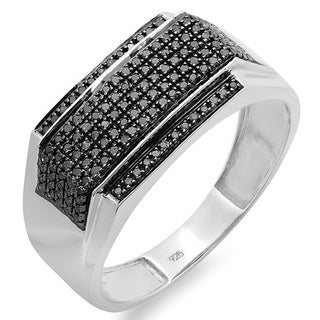 Platinum over Silver 1/2ct TDW Black Diamond Men's Ring