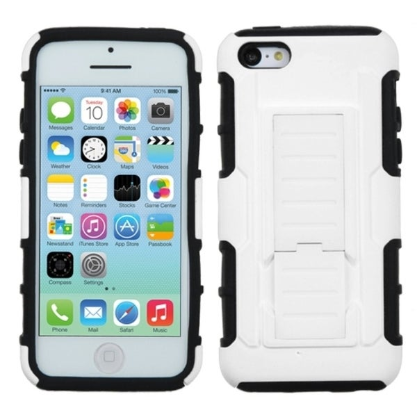 INSTEN White/ Black Phone Case Cover with Stand for Apple iPhone 5C
