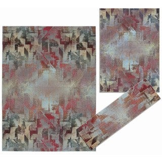 Nourison Abstract Living Collection Multicolor 3-piece Rug Set