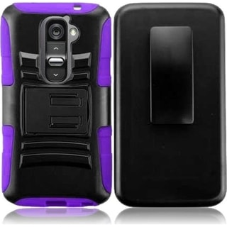 BasAcc Black/ Purple Holster Case with Stand LG G2