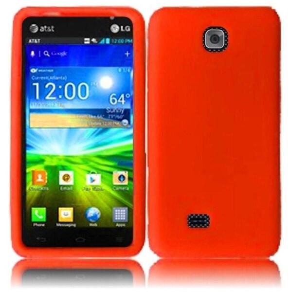 INSTEN Orange Soft Silicone Phone Case Cover for LG Escape P870