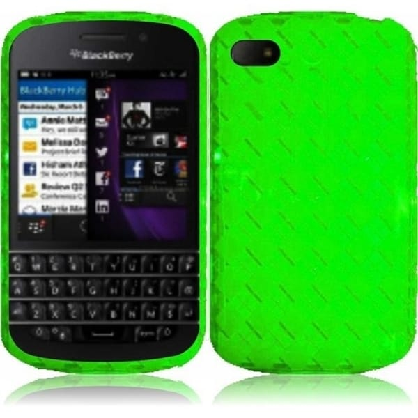 INSTEN Neon Green TPU Phone Case Cover for Blackberry Q10