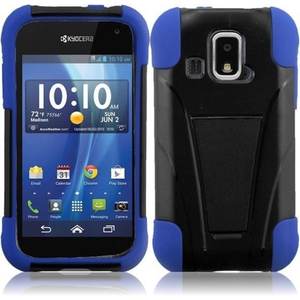 INSTEN Black/ Blue Phone Case Cover with Stand for Kyocera Hydro XTRM C6721