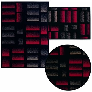 Nourison Air Brushed Logs Collection Black 3-piece Rug Set