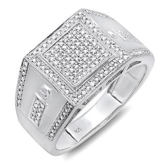 Sterling Silver 2/5ct TDW Diamond Men's Bling Ring (I-J, I2-I3)