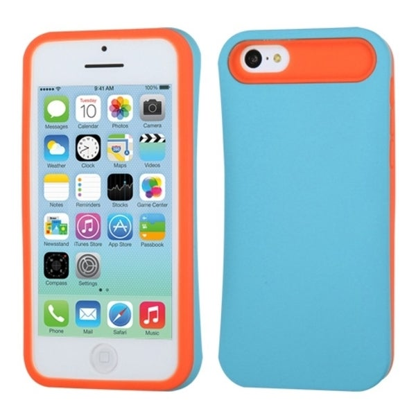 INSTEN Baby Blue/ Orange Card Wallet Phone Case Cover for Apple iPhone 5C