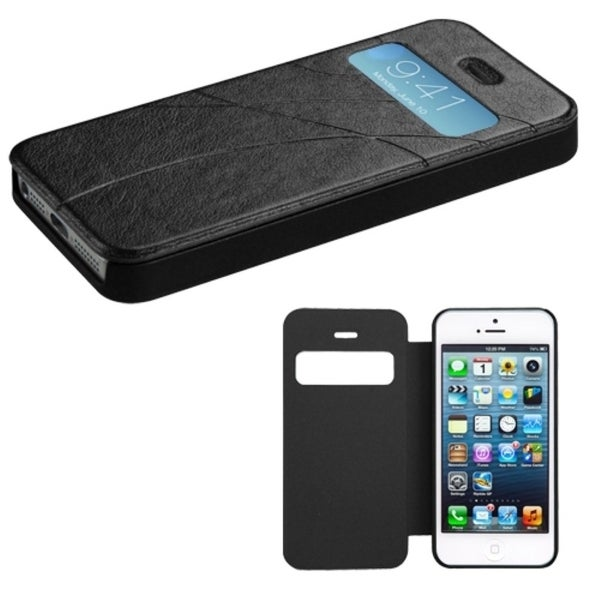 INSTEN Black Embossed Book-Style Wallet Phone Case Cover for Apple iPhone 5/ 5S