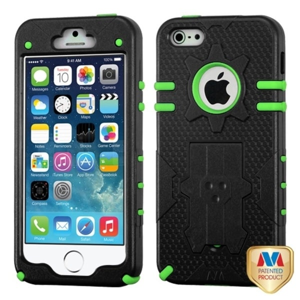 INSTEN Natural Black/ Green Hybrid Phone Case Cover for Apple iPhone 5/ 5S