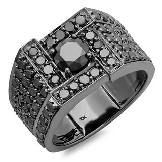 10k Black Plated Gold 4 1/2ct TDW Men's Round Black Diamond Ring