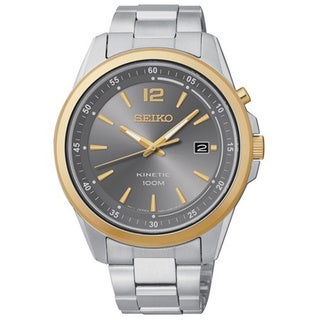 Seiko Men's Kinetic Grey Dial Stainless Steel Two-Tone Watch