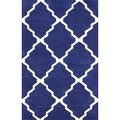 nuLOOM Handmade New Zealand Wool/ Viscose Blue Trellis Lattice Rug (7'6 x 9'6)