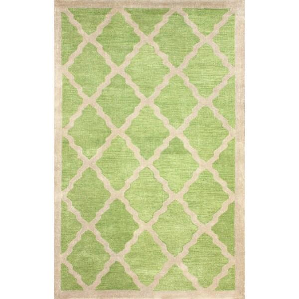 nuLOOM Handmade Marrakesh Moroccan Trellis Green Wool Rug (7'6 x 9'6)