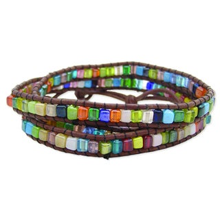 Handcrafted Leather/ Glass Stone Mosaic Wrap Bracelet with Bonus Bracelet (India)