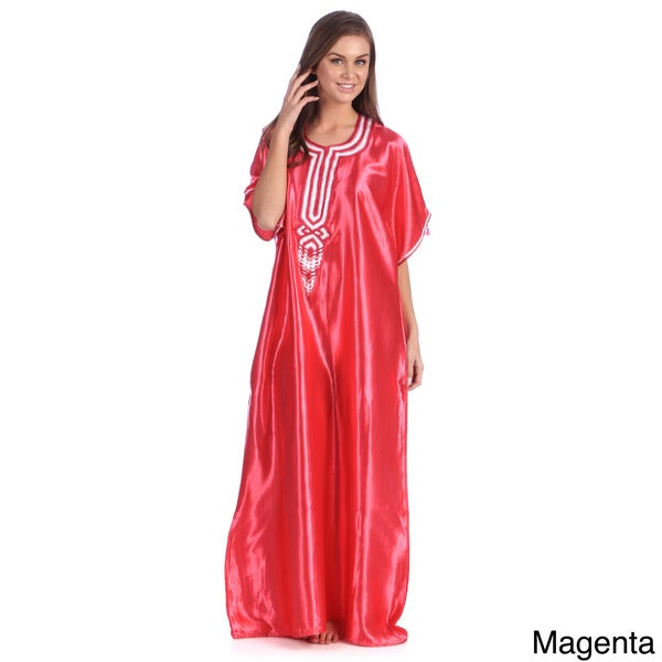 Hand-Embroidered Women's Sunny Satin Moroccan Caftan (Morocco)