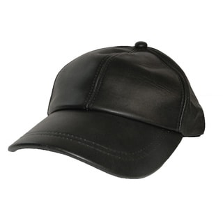 Hollywood Tag Black Leather Baseball Cap
